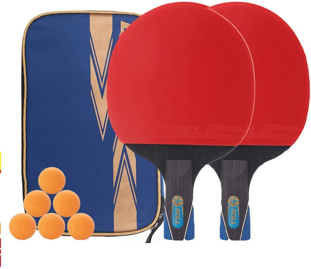 2 bats and 6 balls WEIZI Portable table tennis sets Professional table tennis racket bat sets Perfect for advanced and advanced straight