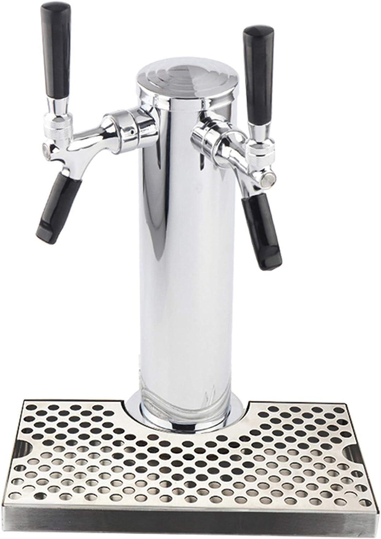 SIWJ Grifo Barril De Cerveza Cerveza Tower Home Brew Double Tap Dispensador con Bandeja De Goteo, Cerveza De Barril De Cromado Colomn con 2X Estados Unidos Grifo De Grifos, Torre De Cerveza