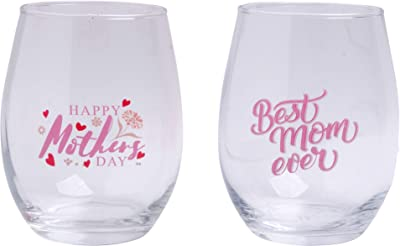 Home Essentials 3515 Mom Strong Happy Mother Stemless, Set of 2