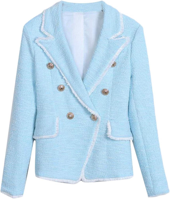 Jotebriyo Women Lapel Classic Double Breasted with Tassles Slim Fit Blazer Jacket Suit Coat