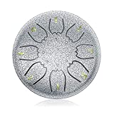 'OcarinaWind' 6.3 Inch C Major Steel Tongue Drum Silver 8 Notes with Elegant Quality Drum Bag and Couple of Mallets,Easy to Learn,Wonderful Gift Idea,Titanium Steel Alloy