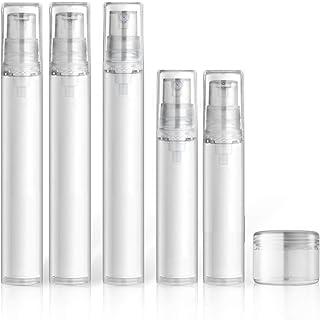 مجموعة زجاجات صغيرة للسفر من 9 قطع، زجاجة مستحضرات تجميل شفافة بدون هواء بحجم مناسب للسفر، حاويات قابلة لإعادة الملؤة/ زجا...