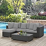 Modway Sojourn Wicker Rattan 5 Piece Outdoor Patio Sunbrella Sectional Set in Canvas Gray