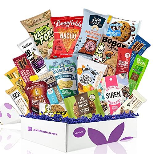 Healthy Vegan Snacks Care Package: Mix of Vegan Cookies, Protein Bars, Chips, Vegan Jerky, Fruit & Nut Snacks, Great Father's Day Vegan Gift Basket Alternative
