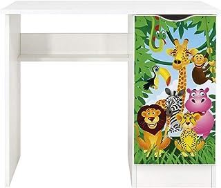 Leomark Vit skrivbord för barn – Roma – trevligt skrivbord för barn med hylla, möbler för barnrum, höjd: 77 cm (djur)