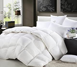 Grandeur Linen's Twin Extra Long (XL) Size Luxurious 1200 Thread Count Siberian GOOSE DOWN Comforter, 100% Egyptian Cotton Cover, Damask Stripe White Color, 750 Fill Power, 50 Oz Fill Weight