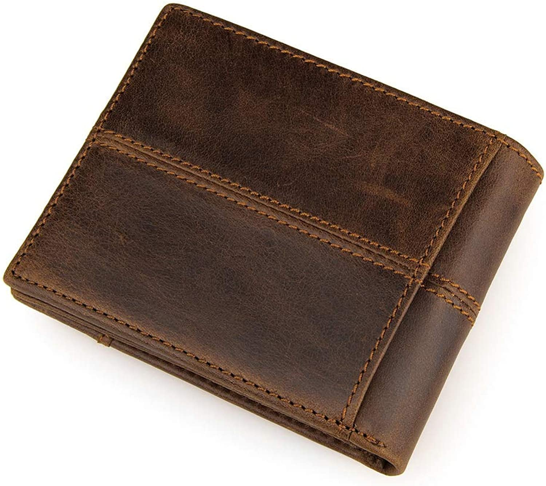 NLJ-YMS Wallet 100% Leder Männer Brieftasche Faltbare Handgemachte Karte Tasche Geldbörse B07HY8MYXR