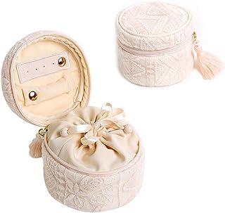 Portable Tassel Jewelry Storage Box, Lace Design, Mini Travel Jewelry Storage Box for Storing Earrings, Jewelry, Necklaces, Etc. (Color : Beige)