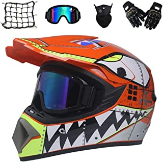 DONG Motocross-Helm, Orange/Shark-Muster, Kinder-Cross-Helm-Set mit Schutzbrillenhandschuhen, Helmnetz, Vollvisier-Motorrad-Sturzhelm für Motorrad-MTB-Geländefahrzeuge,S