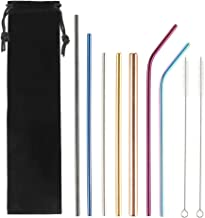 Vanansa 7PCS Boba Straws Multicolor Stainless Steel Drinking Straws 6mm, 8mm, 12mm Wide Bubble Tea Straws Metal Portable S...