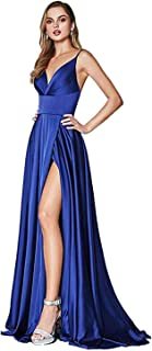 Fashionbride Women's Spaghetti Straps Slit Formal Prom Dress Long V-Neck Party Evening Gowns