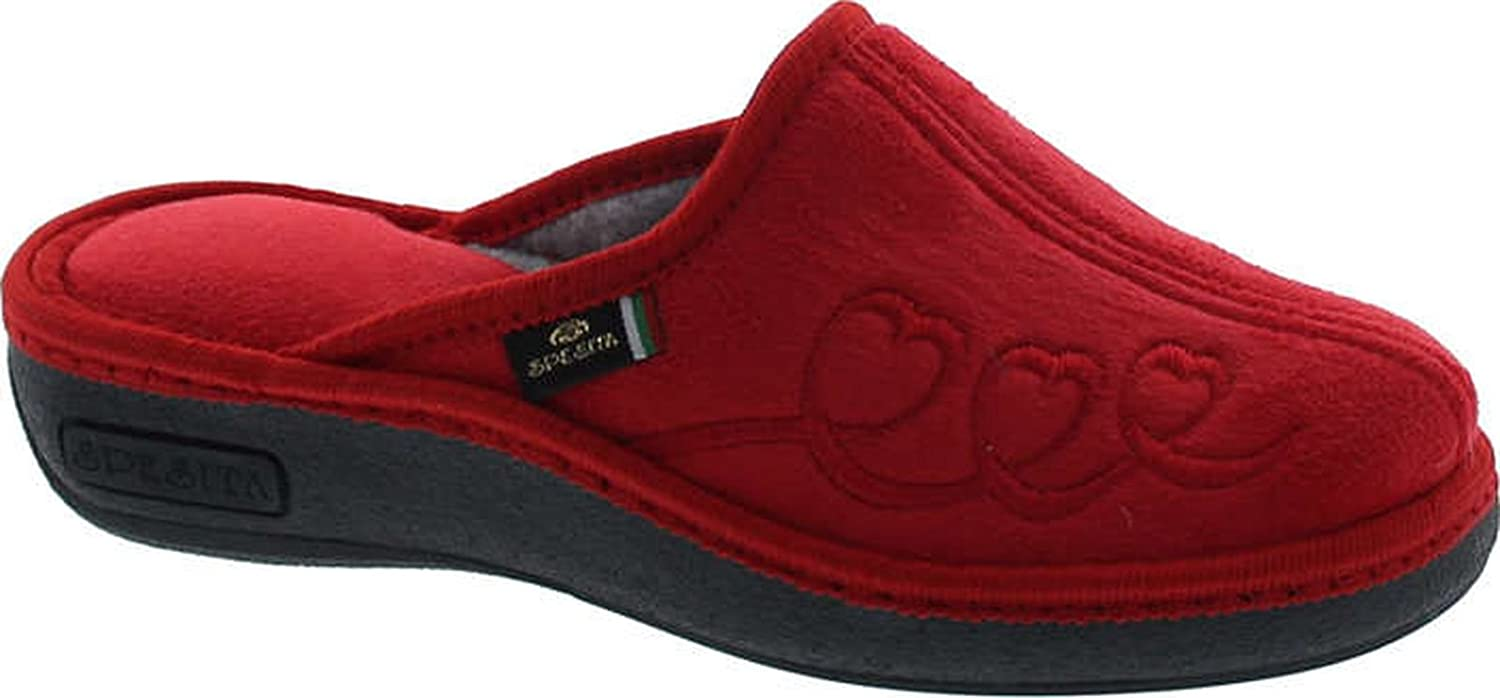 Sc Home Collection Womens 17717 Wedge Flower Embroidered Cozy House Slippers Made In Europe