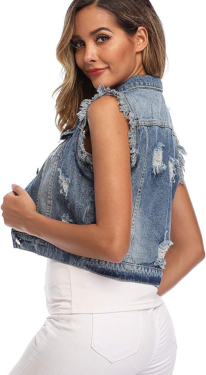 Dilgul Women's Denim Vest Ripped Distressed Classic Cotton Button Sleeveless Jean Jacket