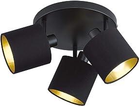 Reality Leuchten Tommy R80333979 Spotbalk, mat metaal, zwart, stoffen kap zwart/goudkleurig
