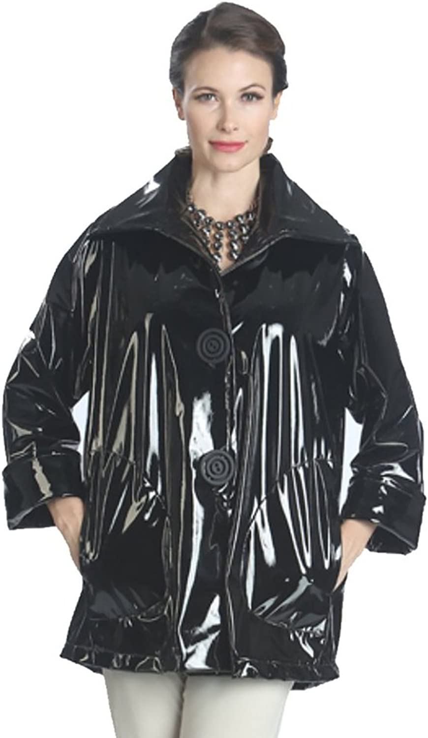 IC Collection Waterproof MidLength Jacket in Black  1172JBK