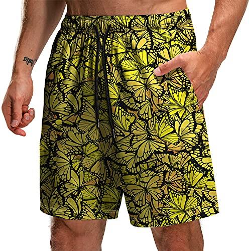 Hombre Cortos Playa - Bañador De Natación con Cintura Elástica con Cordón, Estampado De Mariposas De Animales Abstractos, Pantalones Cortos De Secado Rápido, Ropa De Playa De Surf Suelt
