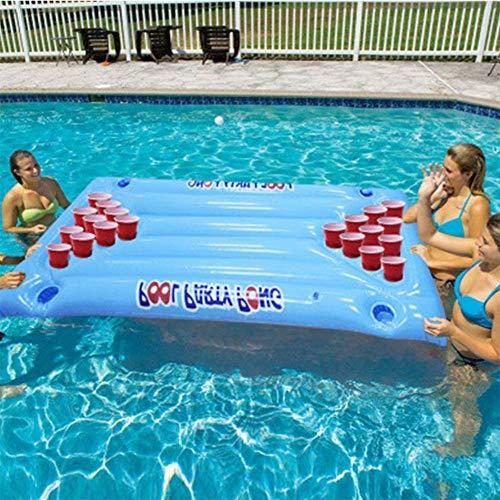 Flotadores de Piscina, Flotadores para la Piscina, inflables flotantes inflables, mesas de Ping Pong, sillas de salón, Juegos de Fiesta en la Piscina de Aqua Pong Ball, portavasos 24 Moda.