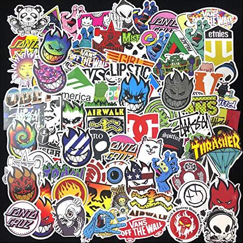 BUCUO Skateboard Pegatinas de Marcas Famosas Personalidad Marca de Moda Graffiti Skateboard Decoración Pegatinas de Calle Europeas y Americanas Impermeables 100 Piezas