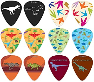 Creanoso Cool Dinosaur Guitar Pick (12-Pack) - Medium Gauge Celluloid - Unique Music Gifts & Stocking Stuffers for Men Him...