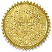 Official Seal of Excellence Embossed Gold Certificate Seals, 102 Pack