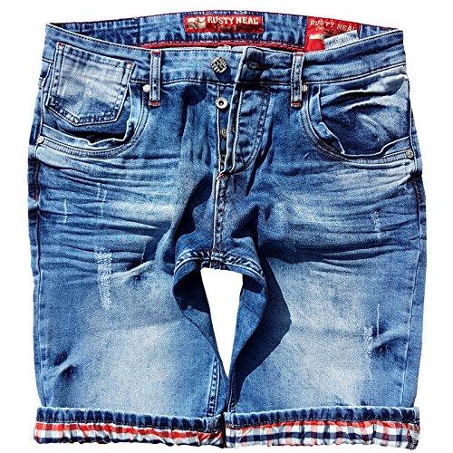 Rusty Neal Kurze Denim Herrenhose Hose Jeans Vintage Destroyed Bermuda Shorts A1-RN-13601, Größe:XL, Farbe:Blau