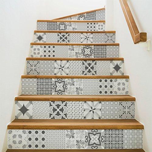 Ambiance-Live col-stairs-ROS-A924_15x105cm_6bandes Stickers Adhesivos Escalera carrelages, Vinilo, Multicolor, 6 bandes de 15x105 cm