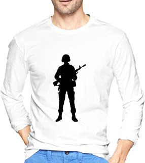 Tri Service Us Military Men's Crew Neck T Shirts Casual Fall Long Sleeve Cotton Tops Blouse Shirts S-XXL