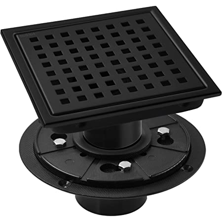 BESTTEN 6 Inch Square Shower Floor Drain with Flange, Quadrato Pattern Grate Removable, CUPC Certified, Matte Black, Brushed SUS304 Stainless Steel