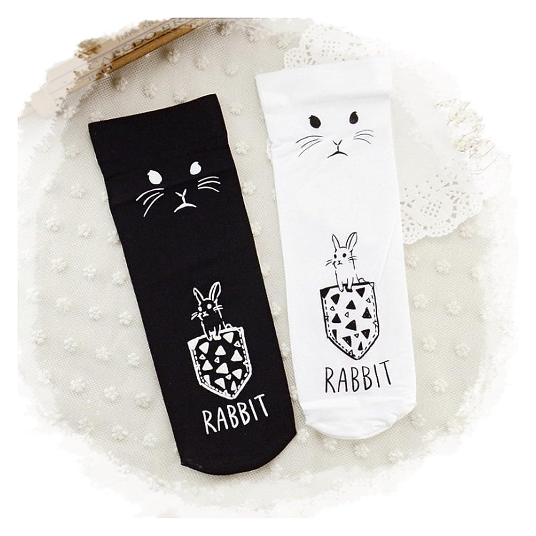 レディース 靴下 ソックス ショート ストッキング ロークルー丈 うさぎ(白色)