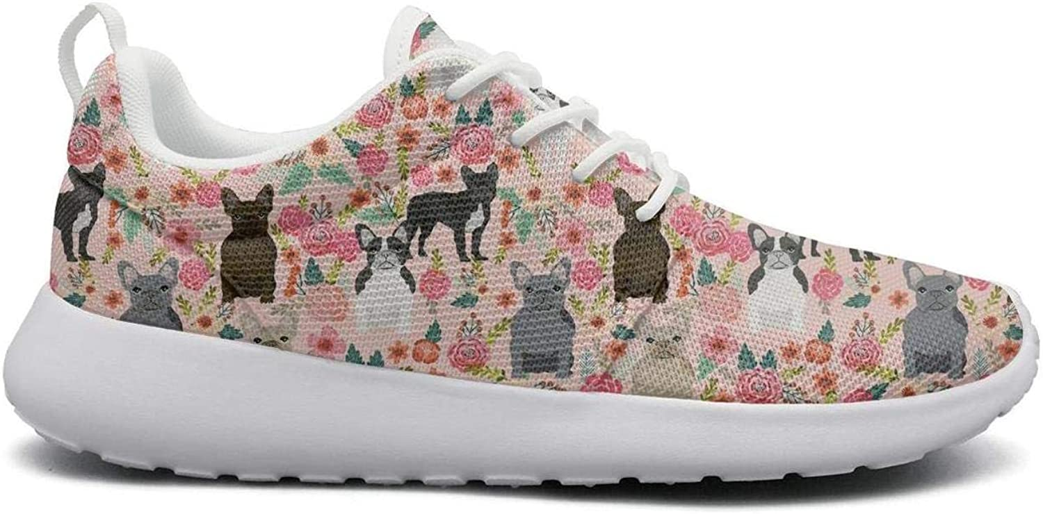 Pink French Bulldog floral1 cool Print women sports Running shoes Casual Lightweight Athletic Sneakers