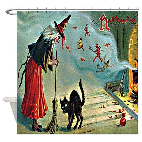 CafePress Vintage Halloween Witch Black Cat Shower Curtain