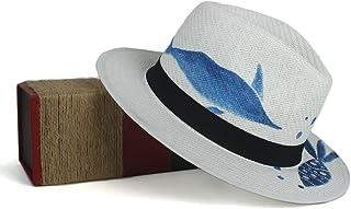 JAUROUXIYUJIN Fashion Women and Men Summer Panama Hat for Beach Sun Caps Handwork Blue Fish (Color : White, Size : 56-58CM)