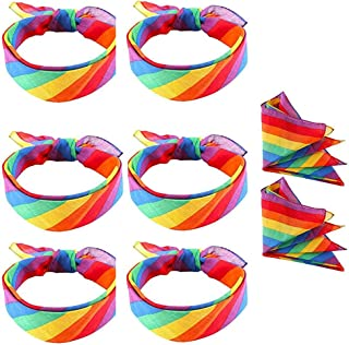 8 Pack Rainbow Bandanas Gay Pride LGBT Bandana Headband Unisex Scarf for Festivals Party...
