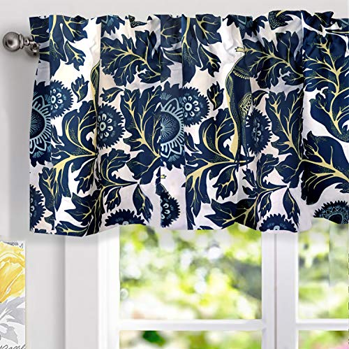 DriftAway Bird Tree Floral Flower Leaf Lined Thermal Insulated Energy Saving Window Curtain Valance for Living Room Bedroom Kitchen 2 Layer Rod Pocket 52 Inch by 14 Inch Plus 2 Inch Header Navy