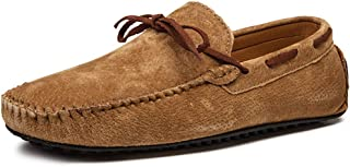 XFQ Chaussures Bateau pour Homme, Mode Chaussures Casual Frosted Cuir Sole Chaussures Mode De Conduite Légère D'été,Marro...