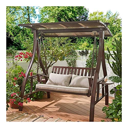 YYDD Porch Swing with Stand Outside Furniture Swing Chair, Waterproof Solar Power Supply Thickening Cushion Terrace Rocking Chair