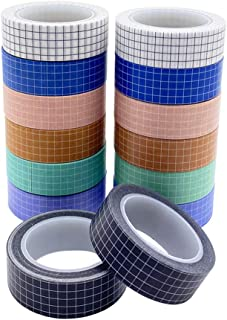 14 Rolls Grid Washi Tape Set 33ft Colorful Writable Paper Adhesive Masking Tapes 3/5in Width Sticky Paper Tape for DIY Scr...