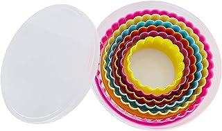 XCOZU Emporte Pièces Rond, 6 Pièces Emporte Piece Patisserie en Plastique pour Sandwich Fondant Pâte à Fruits Biscuit, Emp...