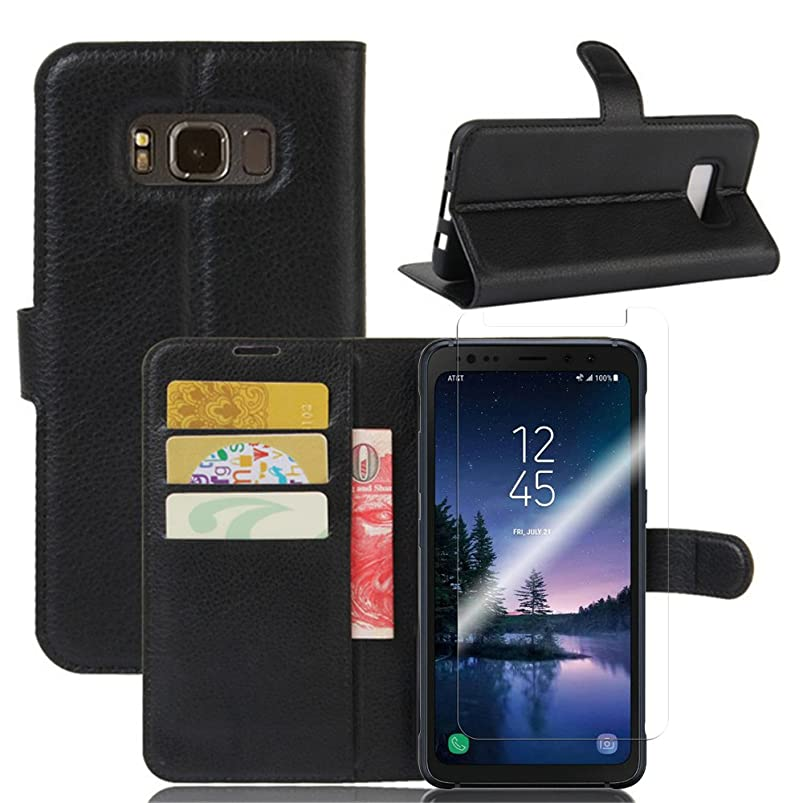 Samsung Galaxy S8 Active Case With Tempered Glass Screen Protector, [LuckQR] Luxury Leather Wallet Case, Folding Kickstand, Folio Design with ID & Cash Slots, Full Body Protective Cover Case - Black kyswsvey753354