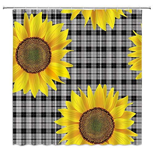 Sonnenblumen-Duschvorhang, schwarz, grau, Büffelkariert, gelb, Sonnenblumen-Bioosming, kreativ, Vintage, rustikal, Badezimmer-Dekoration, schnell trocknend, Stoffvorhang mit 12 Haken, 178 x 178 cm