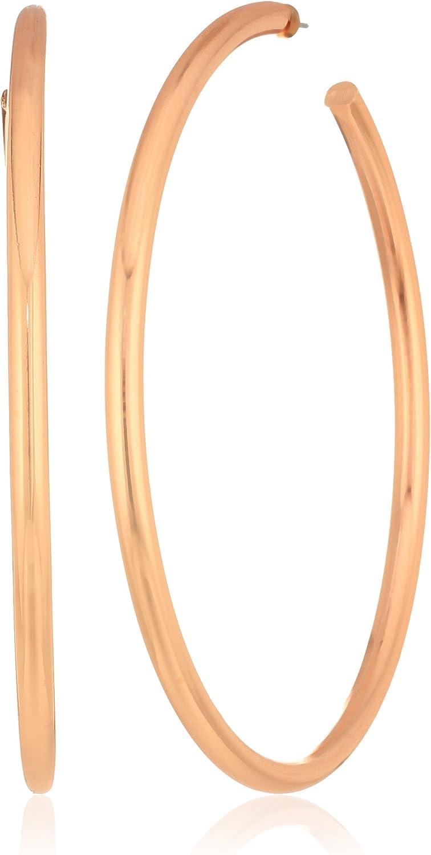 Steve Madden Rose-Tone Post Hoop Drop Earrings