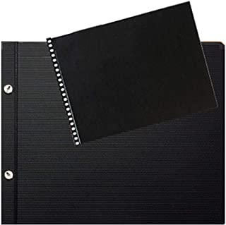 Prat Classic 142 Deluxe Leather Covered Spiral Book with 20 Sheet Protectors Black 11 X 8.5 inches