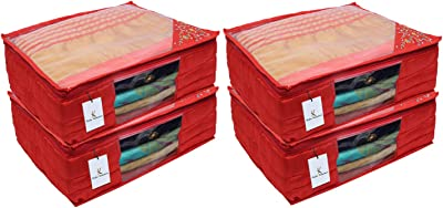 Kuber Industries 3 Layered Quilted Silk 4 Pieces Saree Cover (Red) -CTLTC10620