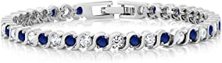 Stunning Round White Cubic Zirconia and Simulated Blue...