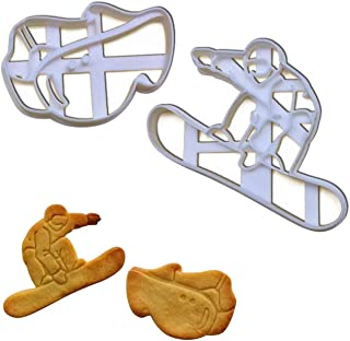 Set of 2 Snowboarding themed cookie cutters (Designs: Snowboarder and Snowboard Goggles), 2 pieces - Bakerlogy