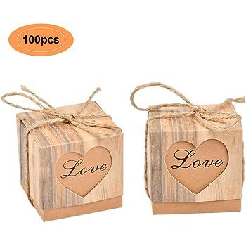 WOWOSS 100 Piezas Cajas de Caramelos para Boda, Festa, Cumpleaños, Baby Shower, Cajas de Regalo Kraft vintage con cuerda de cáñamo: Amazon.es: Hogar