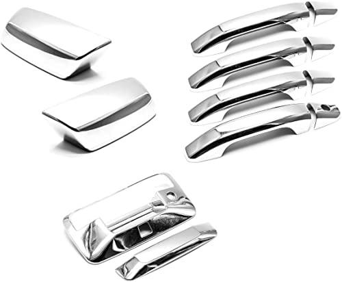 Sizver chrome mirror + door handle + Tailgate Covers For 2014-2018 Chevrolet Silverado / GMC Sierra CrewCab with Came...