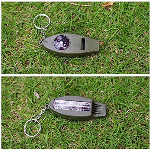 Pawaca 4-in-1-Mini-Tool mit Thermometer, Kompass, Pfeife und Lupe, Notfall-Überlebenswerkzeug, Schlüsselanhänger