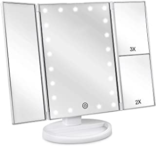 (White) - DeWEISN Tri-Fold Lighted Vanity Makeup Mirror with 21 LED Lights, Touch Screen and 3X/2X/1X Magnification Mirror...