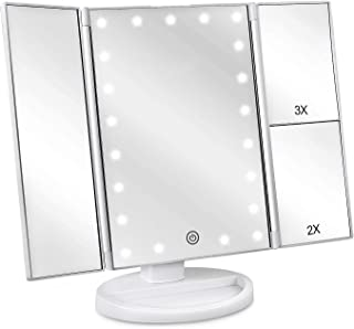 deweisn Tri-Fold Lighted Vanity Makeup Mirror with 21 LED Lights, Touch Screen and 3X/2X/1X Magnification Mirror, Two power Supply Mode Tabletop Makeup Mirror,Travel Cosmetic Mirror (White)